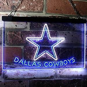 Neon Sign for Wall Decor Star Cowboys Sport Team Football Club Dallas Mancave Sign White + Blue W12 x H8 Home Bar Recreation Room Light, Gift for Boyfriend, Father