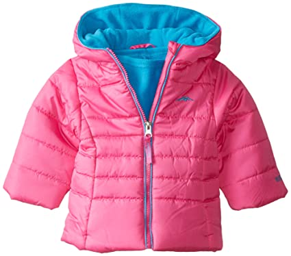 265fd254b Pacific Trail Baby Girls' Solid Puffer Jacket Neck Warmer, Pink, 12 Months