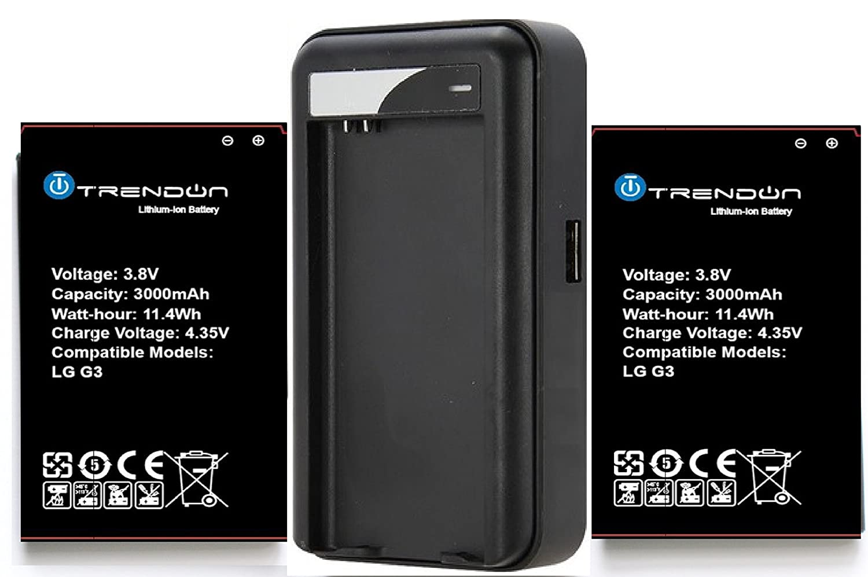 2 baterías + cargador] Trendon LG G3 2 x 3000 mAh [larga ...