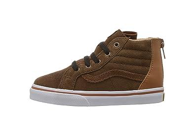 4a51fffb67 Vans Infant Toddler Shoes SK8-Hi Top Zip Suede Brown (MTE) Potting