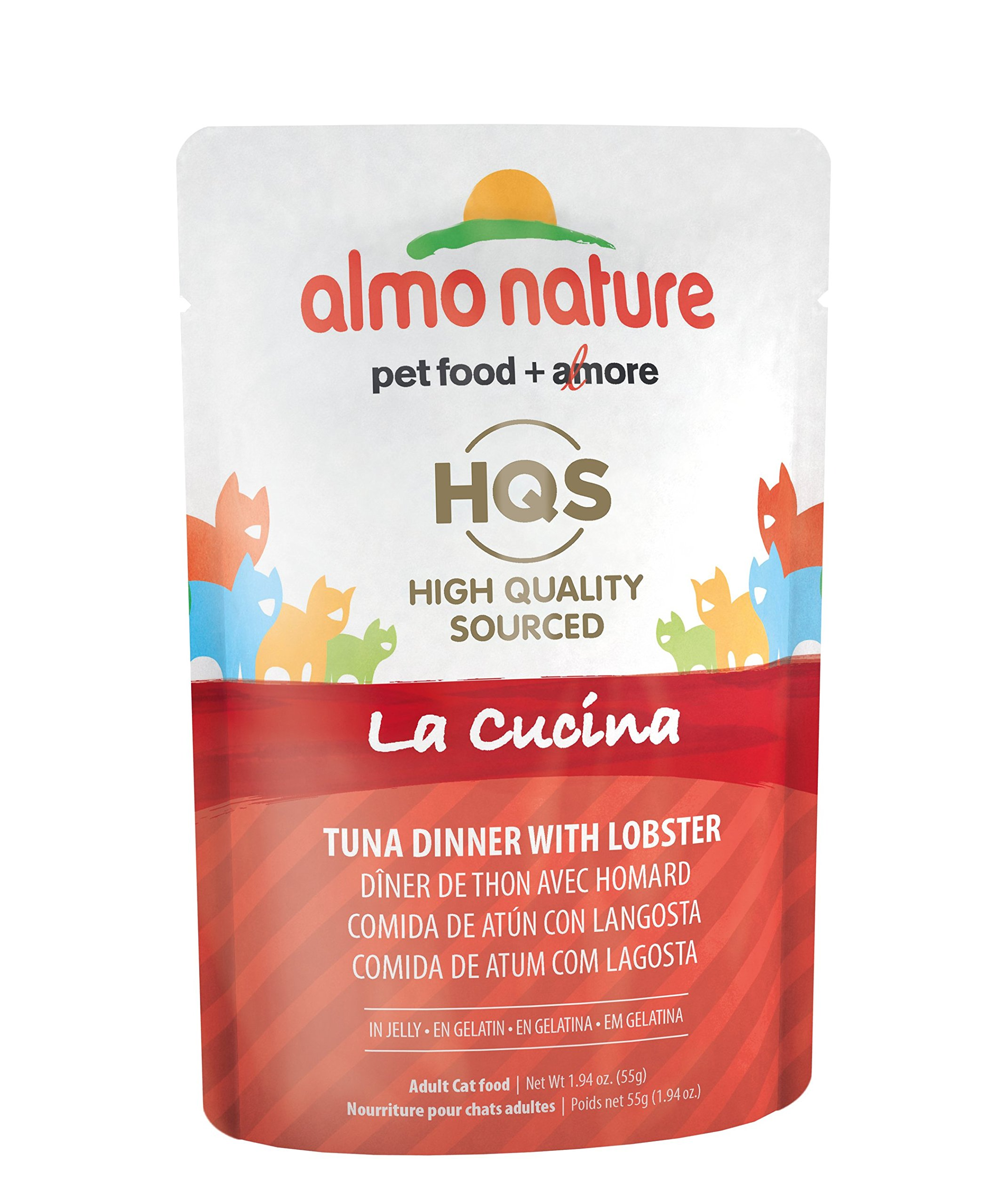 Almo Nature HQS La Cucina Tuna with Lobster In Jelly Grain Free Wet Cat Food Pouches (Pack of 24 pouches 1.94oz each ) by almo nature