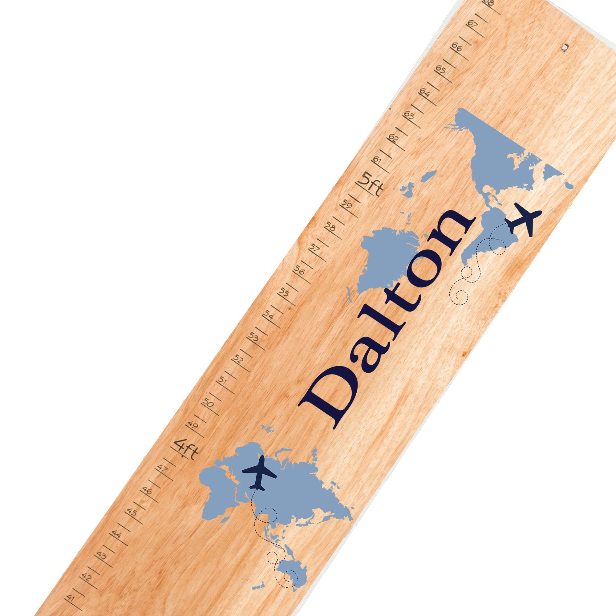 Personalized World Map boy Natural Growth Chart