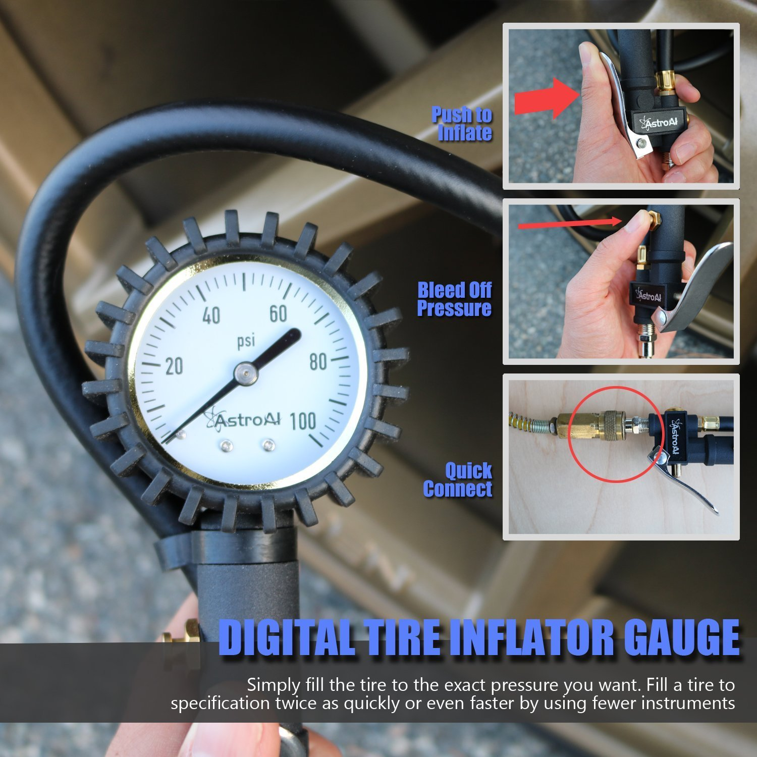 AstroAI Tire Inflator with Pressure Gauge, 100 PSI Air Chuck Compressor Accessories Mechanical Heavy Duty with Rubber Hose and Quick Connect Coupler by AstroAI (Image #6)