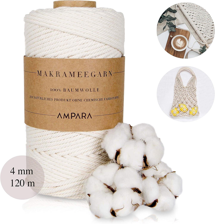 Ampara – Hilo Suave de macramé 4 mm x 120 m, 100% Hilo de algodón, Hilo de Cadena (Hilo de macramé sin química): Amazon.es: Juguetes y juegos