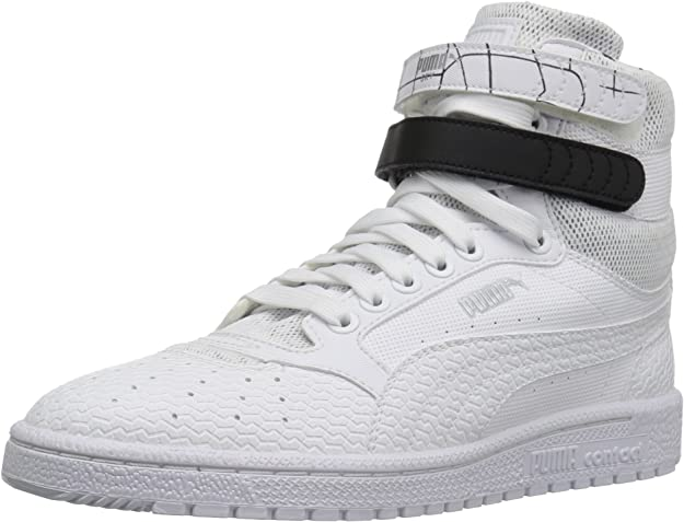 PUMA Women's Sky ii hi sf Texture WN's Basketball Shoe White Black, 6.5 M US