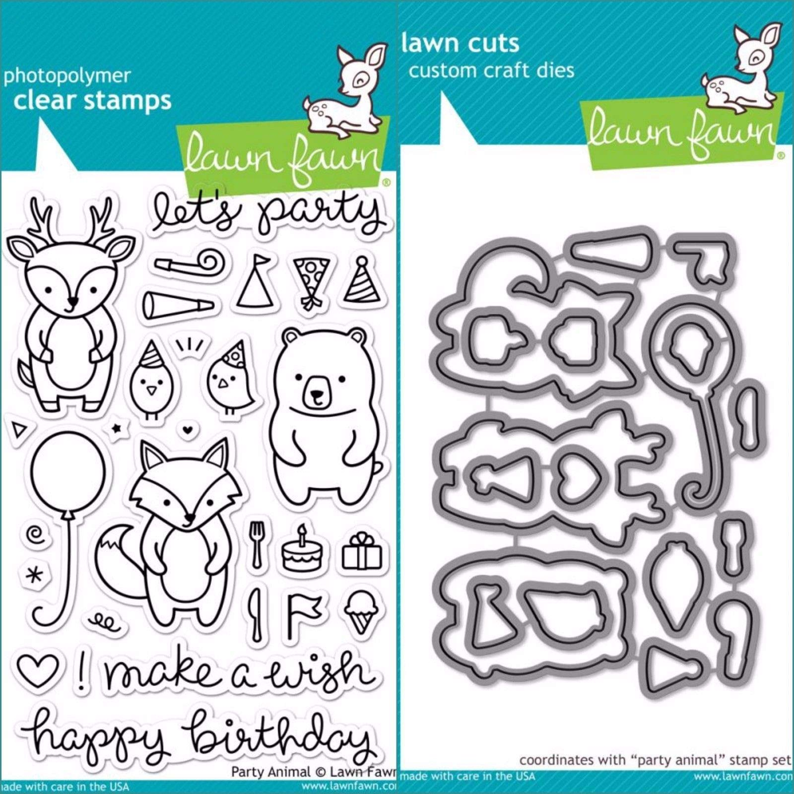 ShopForAllYou Stamping & Embossing (Stamp & Die Bundle)''Party Animal'' Clear Stamps Only OR Clear Stamp