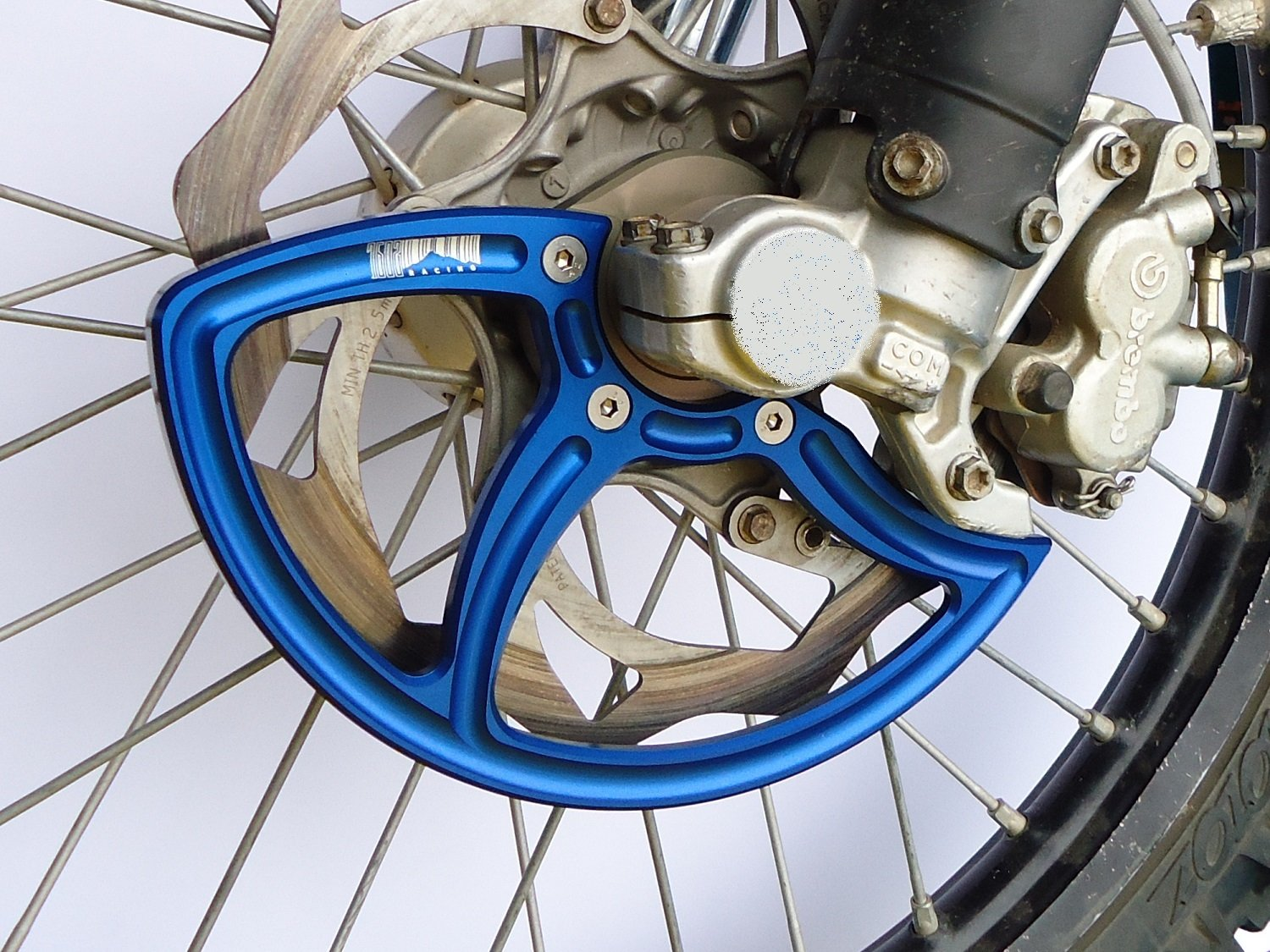 7602 Racing front disc guard. KTM / Husqvarna. 22mm front axle. blue