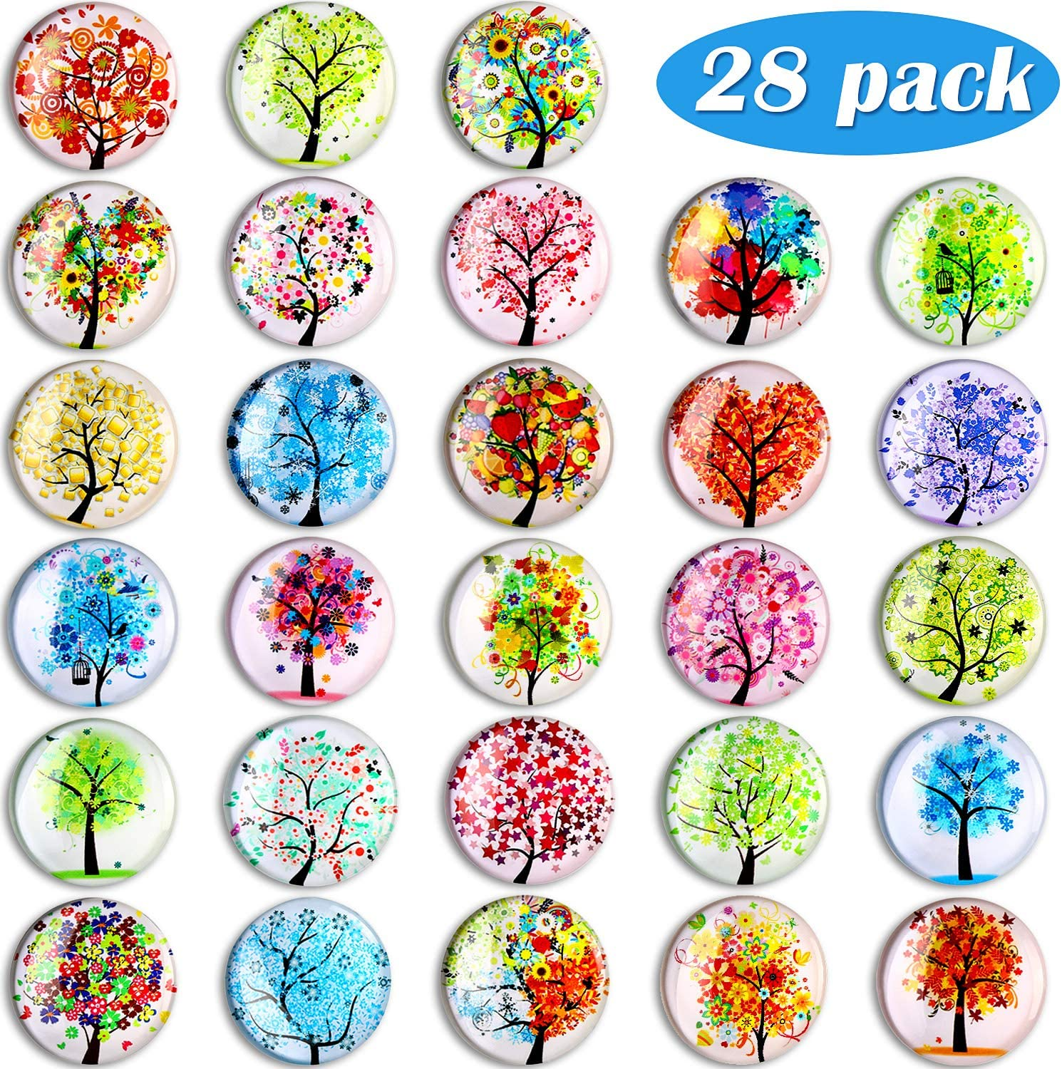 28 Pieces Tree of Life Refrigerator Magnets Glass Refrigerator Fridge Magnets for Office Home Classroom Whiteboard Locker Fridge Decorative Supplies