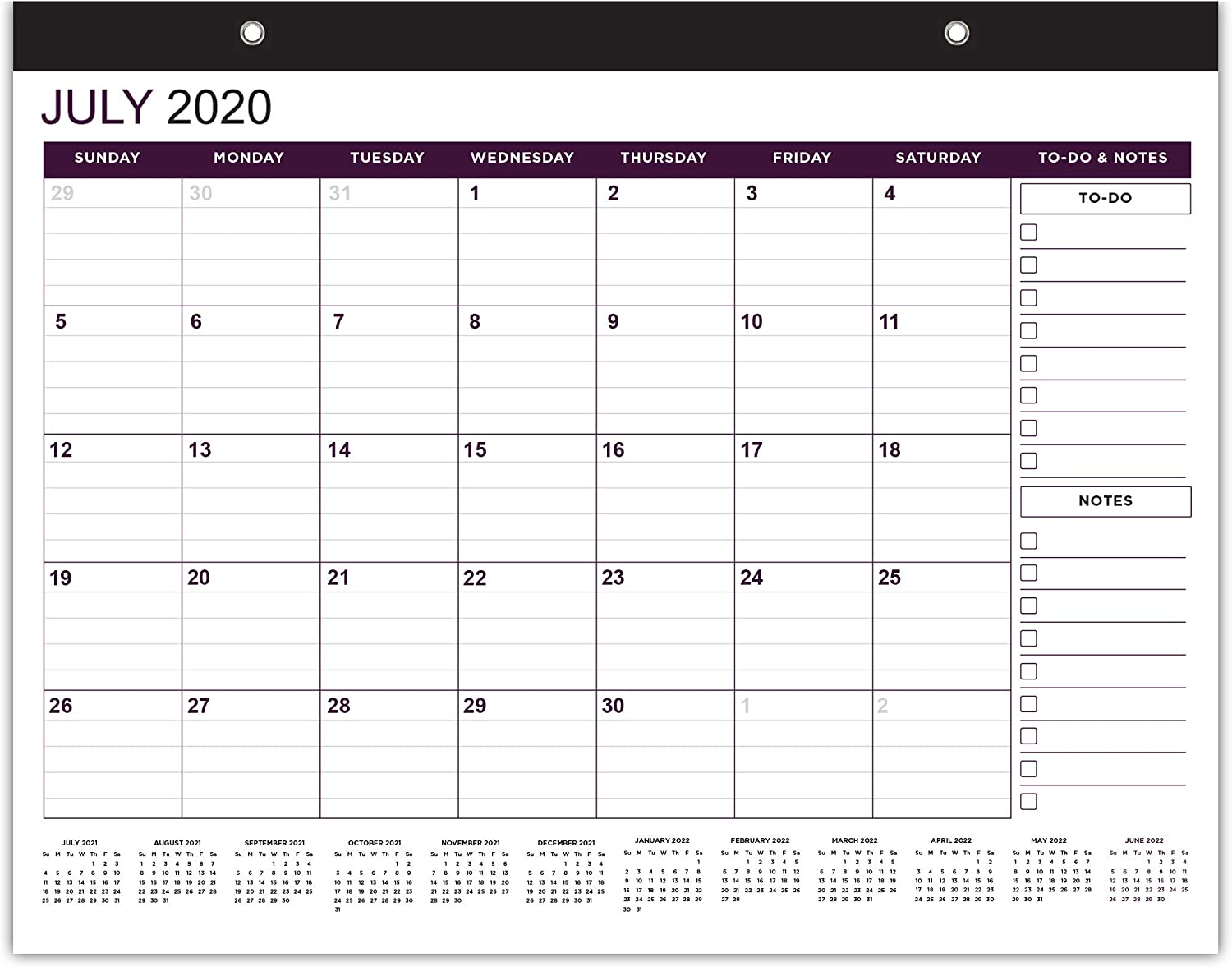 Purple Wall & Desktop Calendar 2020 & 2022- Two Years Wall Calender July 2020 - June 2022 Monthly 17.75 x 13.75 Inches Large Calendars 2020-2021