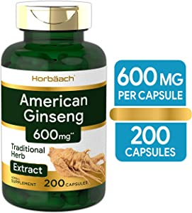 American Ginseng Capsules | 600 mg | 200 Count | Non-GMO, Gluten Free Supplement | Ginseng Root Extract Complex | by Horbaach