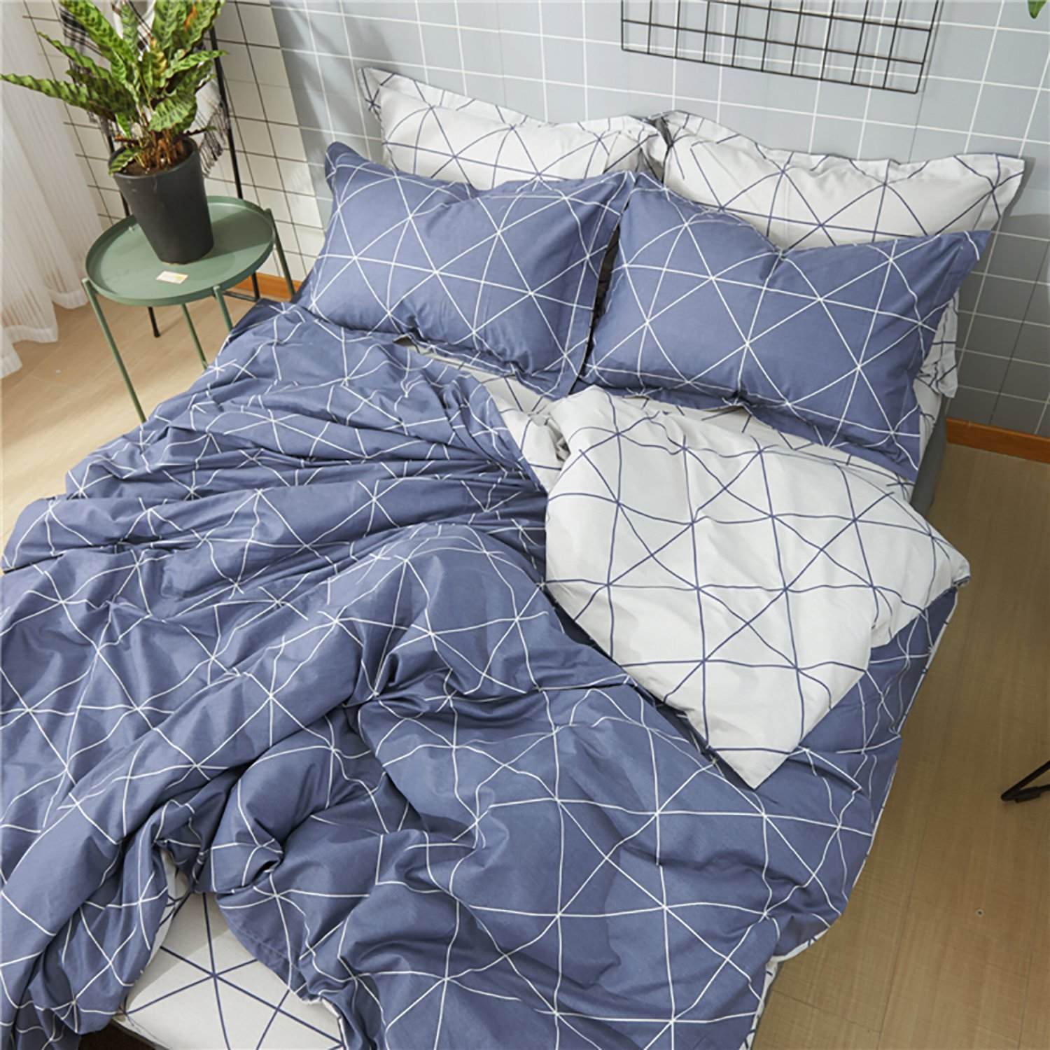 Gingham Check Grey Quilt Cover Reversible Stripe Bedding ~ ALL SIZES FREE P/&P !!