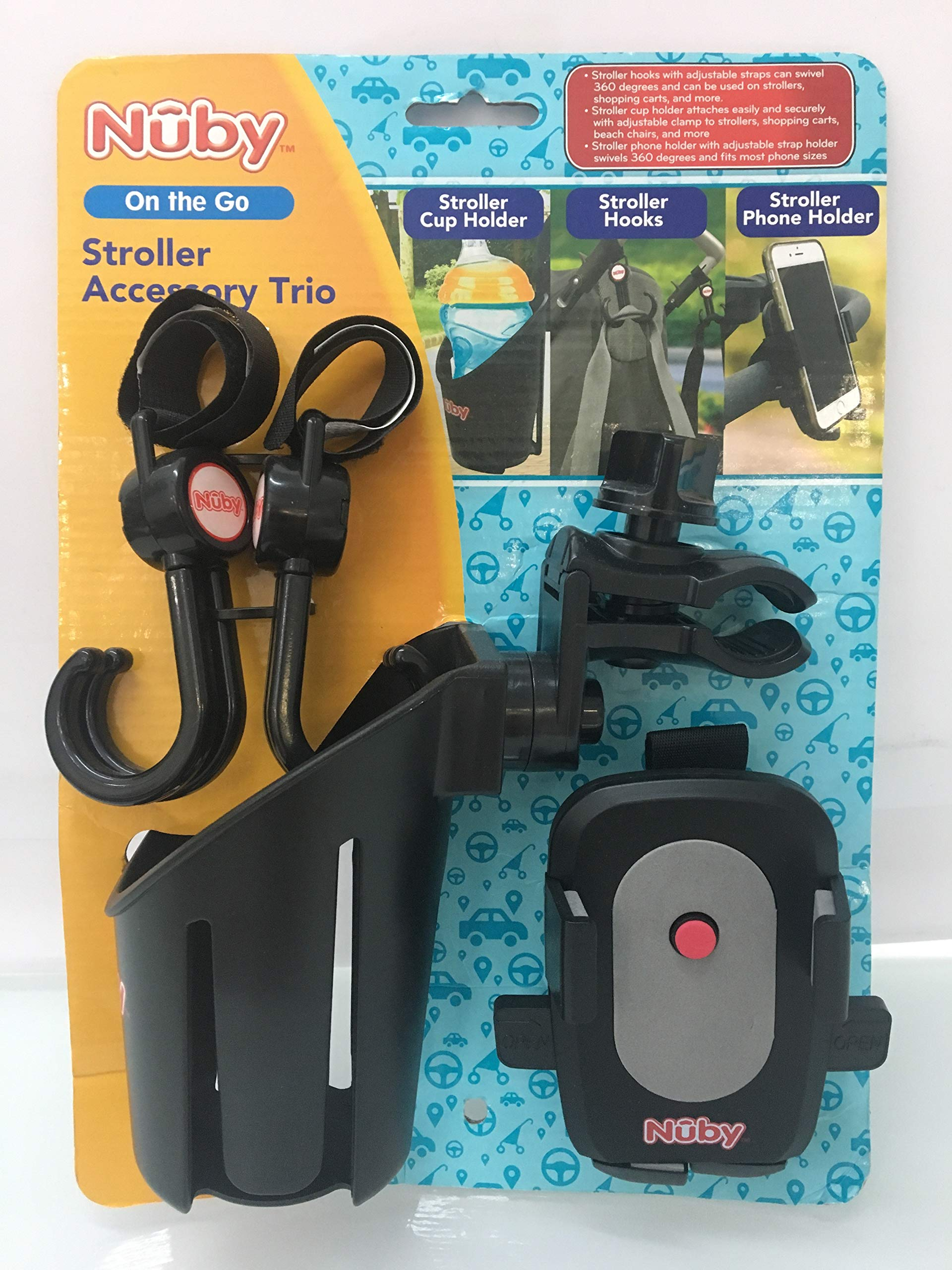 Nuby Trio Stroller Accessory Set: Cup Holder/Phone Holder/Double Hook Set by Nuby