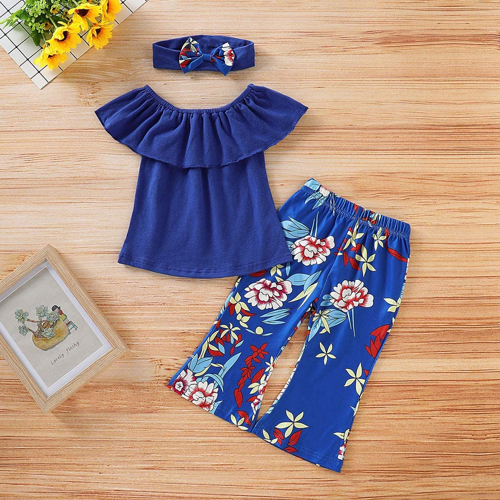 3Pcs//Set Toddler Newborn Baby Girl Summer Outfits Ruffle Off Shoulder Tops+Floral Print Pants with Headband