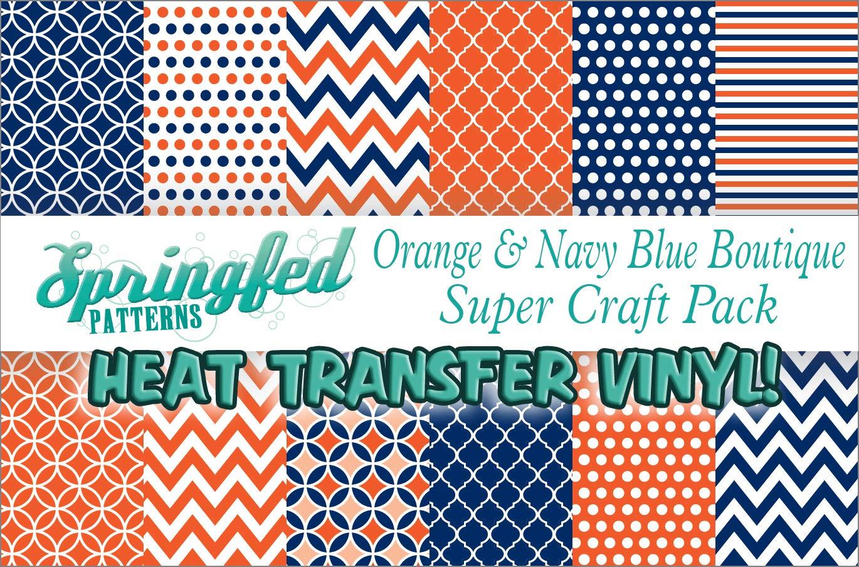 ORANGE & NAVY BLUE HTV Boutique Patterns SUPER PACK! 12 Pieces 12x12 Pattern Heat Transfer Vinyl for Shirts