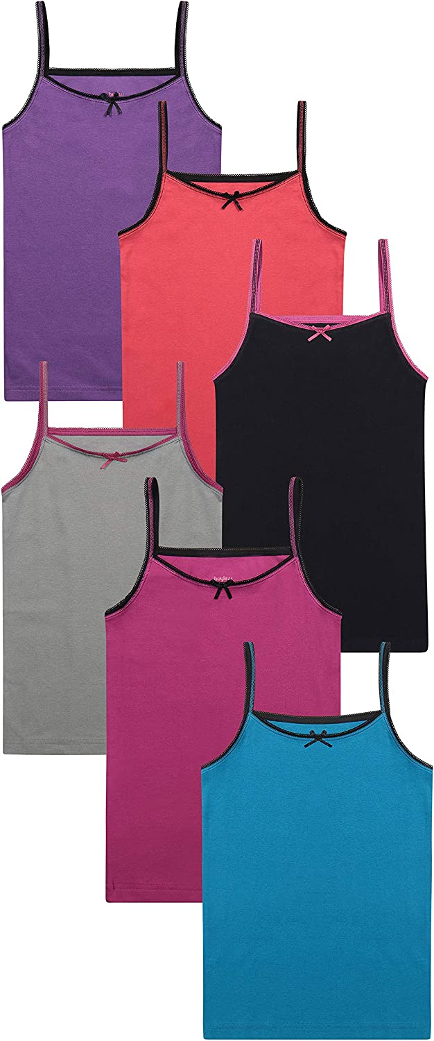 Buyless Fashion Girls Tagless Cami Scoop Neck Undershirts Cotton Tank with Trim and Strap 6 Pack
