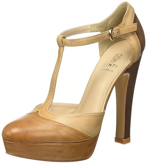 Cinti C3310 Scarpe da Donna con Cinturino Multicolore VERO CUOIO BEIGE 4 UK