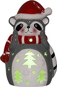 Raccoon Ceramic Christmas LED Tabletop Lantern Statue