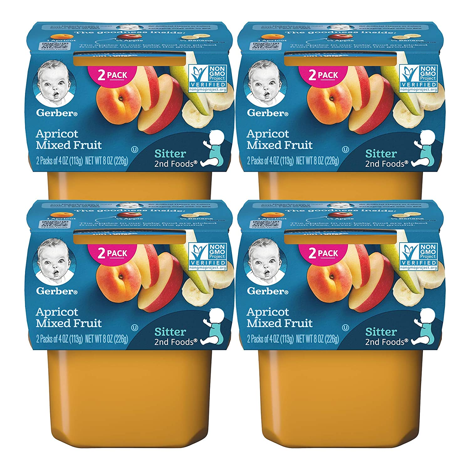 Gerber 2nd Foods Baby Food Tubs, Apricot Mixed Fruit, 2-4 OZ Tubs/Pack (Pack of 4)