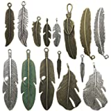100g Feather Charms Collection - Antique Silver Bronze Patina Big Goose Bird Plume Plumage Pinion Wing Feather Metal Pendants