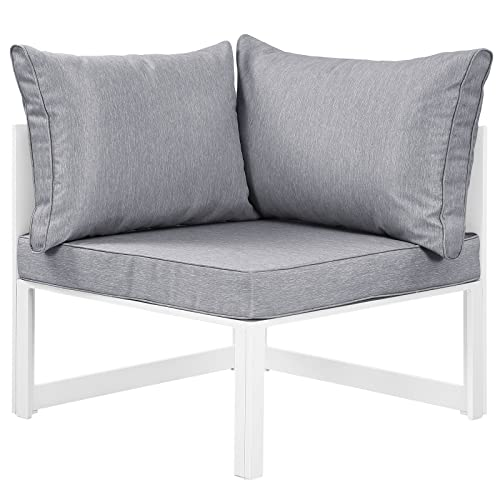 Modway Fortuna Aluminum Outdoor Patio Corner Chair in White Gray