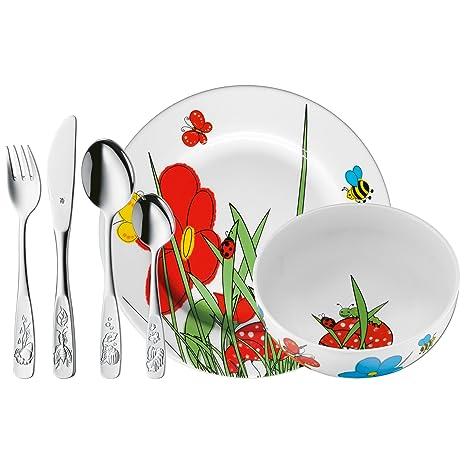 WMF Mundo Animal - Vajilla para niños de 6 piezas, incluye plato, cuenco y