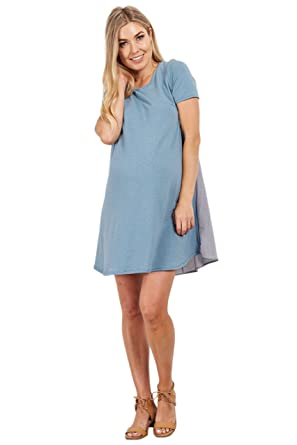 c04b4a280d8a0 Image Unavailable. Image not available for. Color: PinkBlush Maternity Blue  Striped Back Dress ...