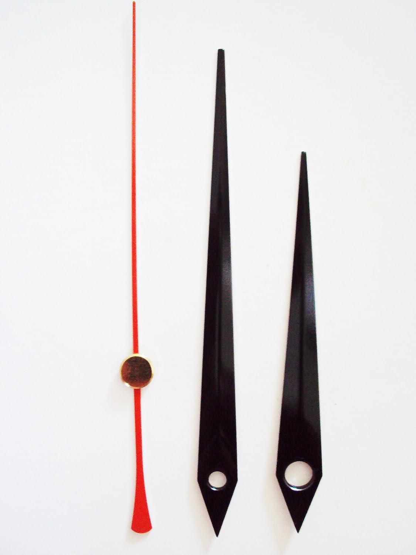 24mm Black Quartz Horloge Mains en m/étal Noir de Remplacement pour Horloge /à mouvements/ M/étal /Fix//DIY Noir /Press Fit/
