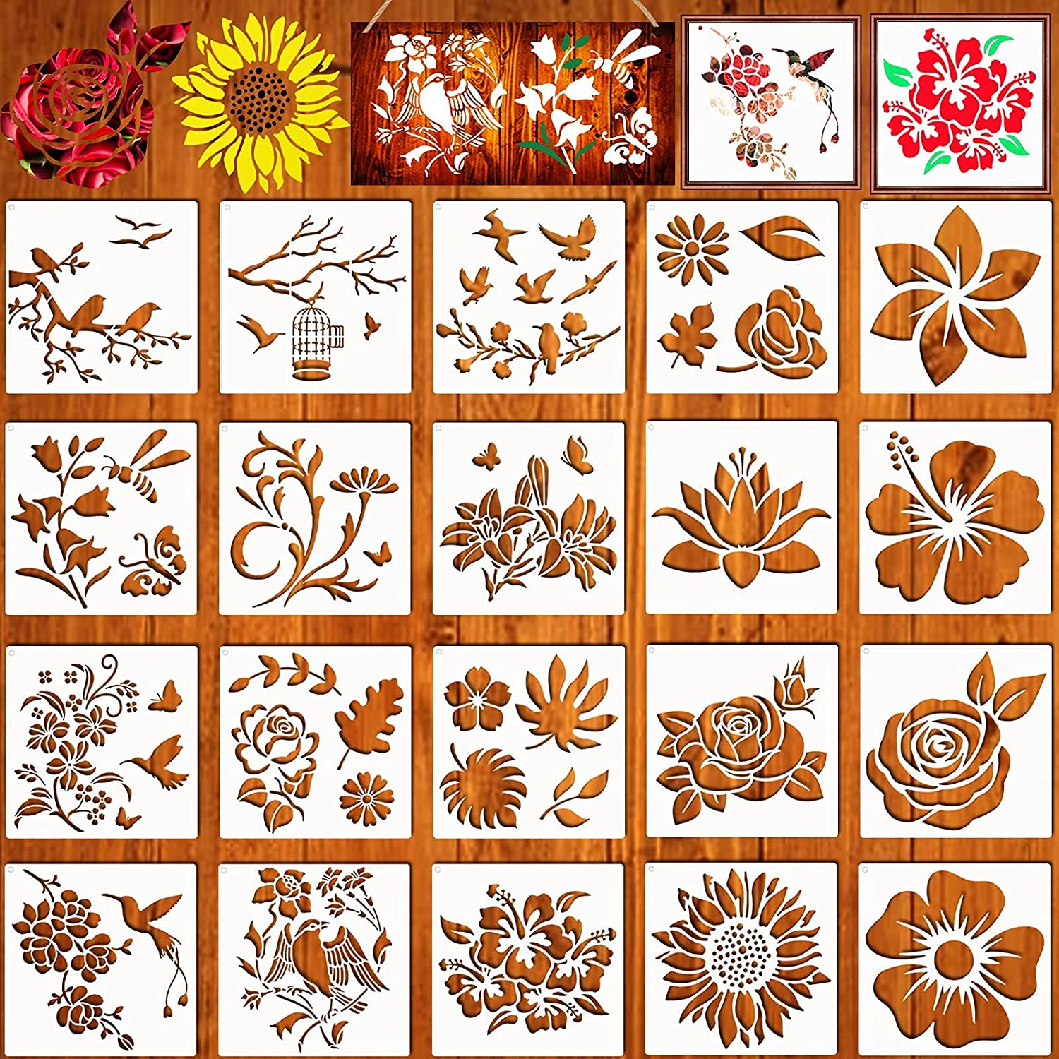 20 Pieces Flower Stencils for Painting On Wood Canvas, Reusable Art Rose Sunflower Bird Leaf Floral Stecil Drawing Template for Paint Nature Design Craft Decor Home Wall