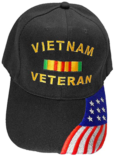 1182fafb4da Image Unavailable. Image not available for. Color  Vietnam Veteran Cap  Black Flag Hat Army Navy ...