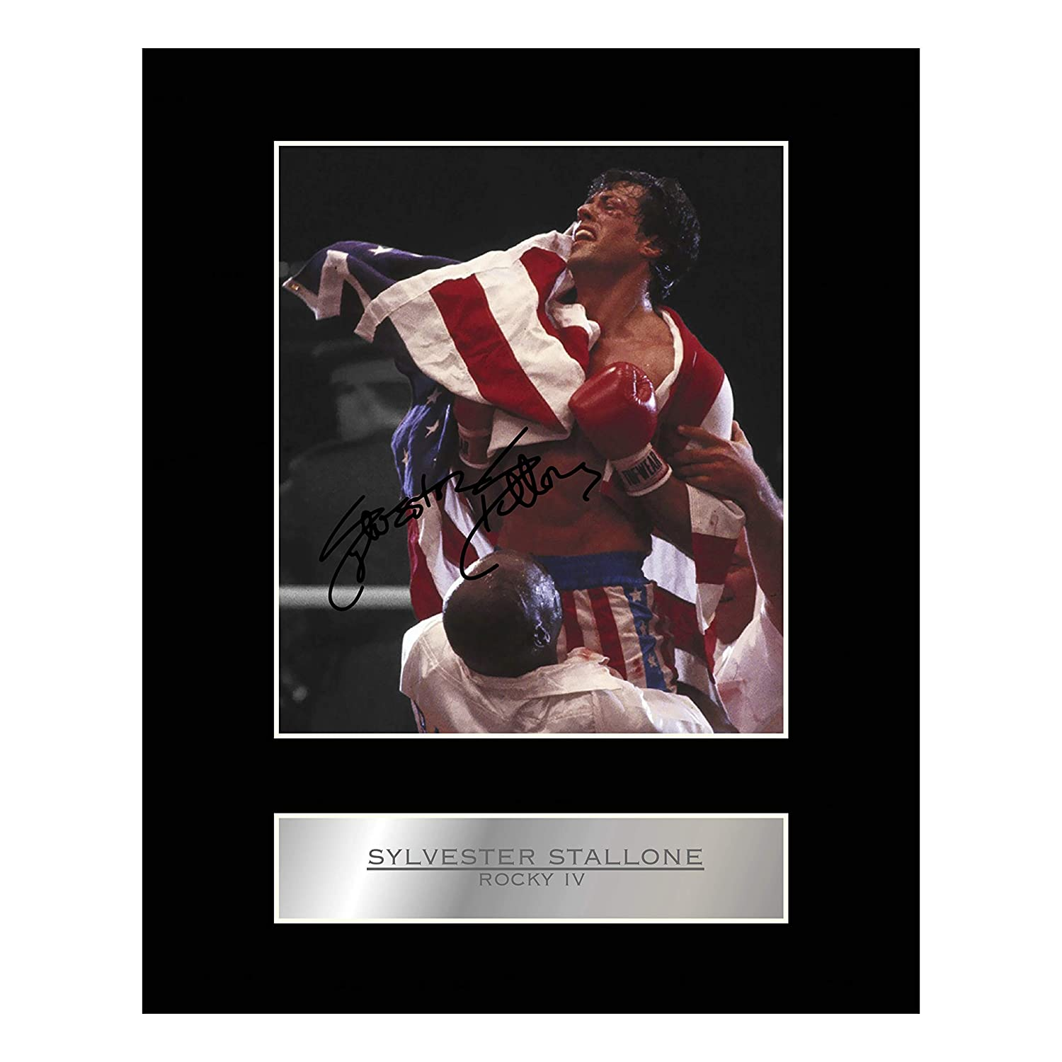 Sylvester Stallone Signiert Foto Display Rocky IV Iconic pics
