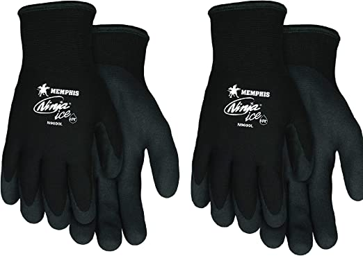 Memphis Glove N9690L Ninja Ice 15 Gauge Black Nylon Cold Weather Glove (Small 2-Pack)