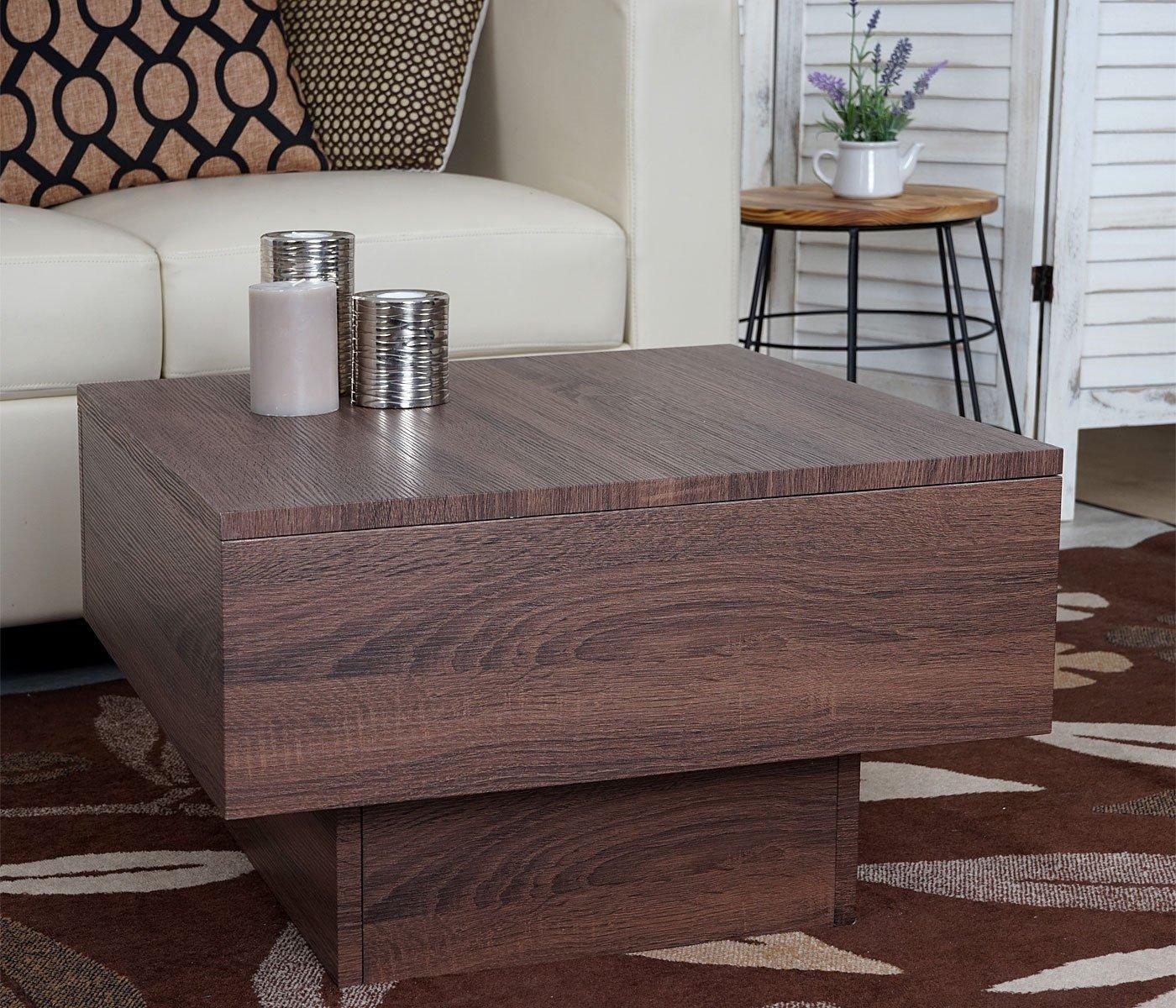 Mendler Tavolino da Salotto HWC-A31 MDF 60x60x37cm Colore Rovere Bruno