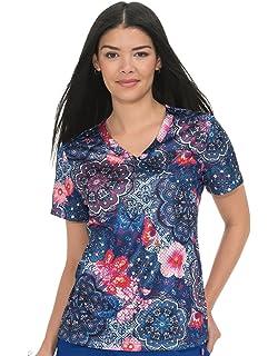 1a873132592 Amazon.com: KOI Prints Women's Brea V-Neck Stretch Unicorn Print ...