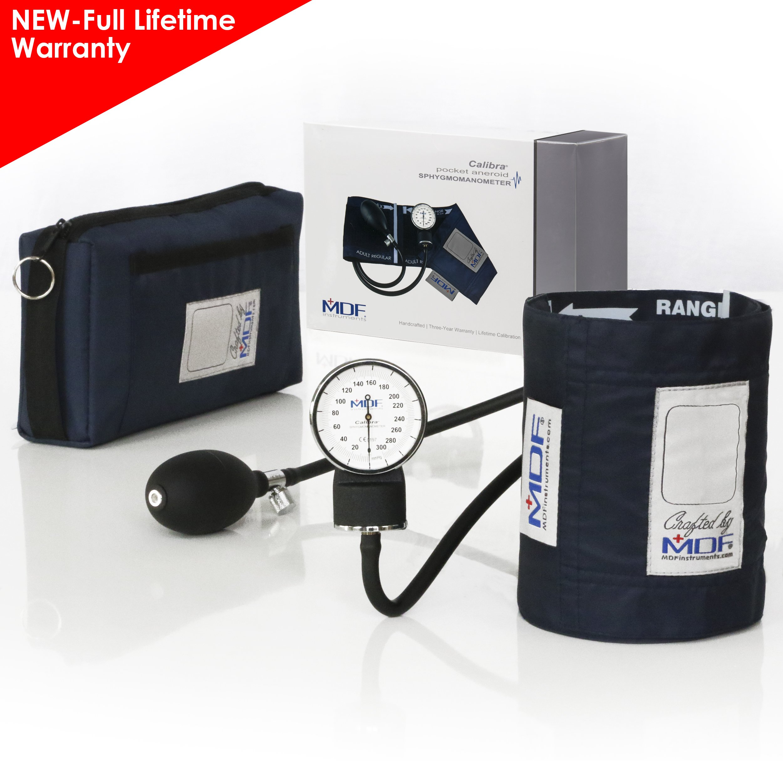 MDF Calibra Aneroid Premium Professional Sphygmomanometer - Blood Pressure Monitor with Adult Cuff & Carrying Case - Full Lifetime Warranty & Free-Parts-For-Life - Navy Blue (MDF808M-04)