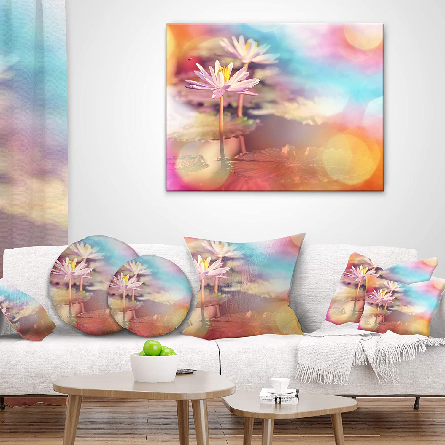 Throw Pillow Designart CU12409-12-20 Lotus on Abstract Background Floral Lumbar Cushion Cover for Living Room 12 x 20, Sofa