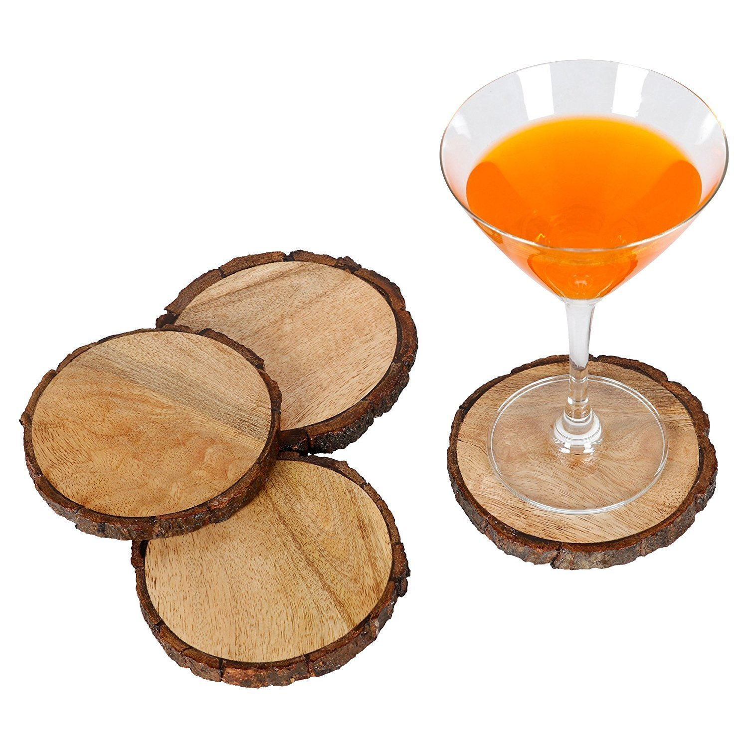 Luxurious Wood Coasters (set of 4) , Light Weight and fitted in natural Bark tree Wood o , Coaster for Drinks, Hot/Cold ,Coffee Mugs, Beer Cans ,Bar Glasses 4 x 4 inch