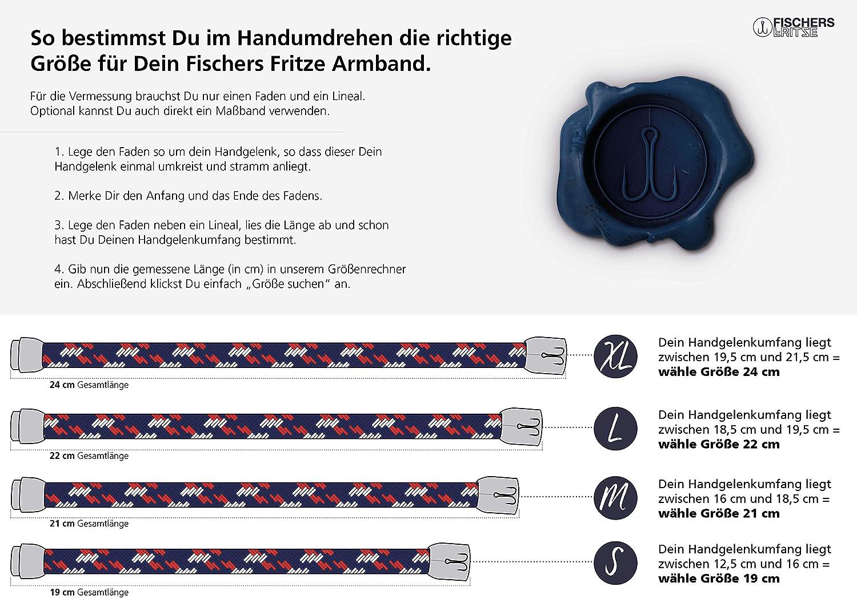 Handgemacht im Geschenkkarton I Maritim /& Wasserfest Fischers Fritze Armband Segeltau Makrele Silbergrau Marineblau
