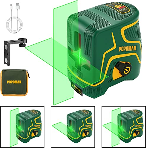 Laser Level Rechargeable POPOMAN, Three Modules with 2 Laser Heads, Horizontal Vertical Line and Cross Line Green, 147ft, Self Leveling and Pulse Mode, Magnetic Support, 360 Rotating, IP54 – MTM310B