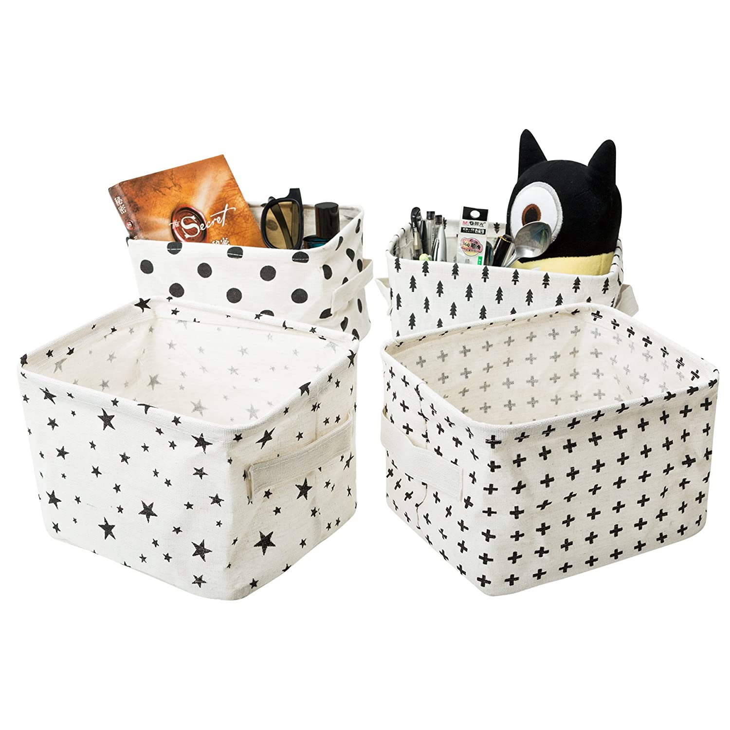 Zonyon Small Canvas Storage Bins, Mini Cute Foldable Fabric Baby Storage Basket,Star Nursery Container with Handle for Toys,Makeup,Keys,Shelves,Desk,Liitle Items,Black and White,4 Packs
