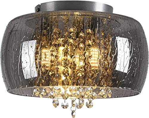 Black Chandelier Glass Flush Mount Light Fixtures with Wet Look Crystal Chandelier Lighting 3 Light Flush Mount Ceiling Light