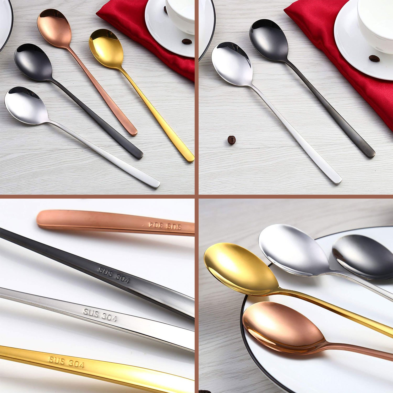 Spoons,QMFIVE,SET OF 4 Piece,Rice spoon,Soup spoon,8.3inch Color stainless steel spoon,Chic and elegant by QMFIVE (Image #5)
