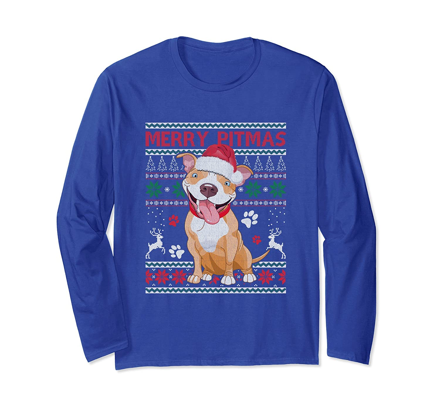 Merry Pitmas Ugly Sweater Style Christmas Dog Pitbull-mt