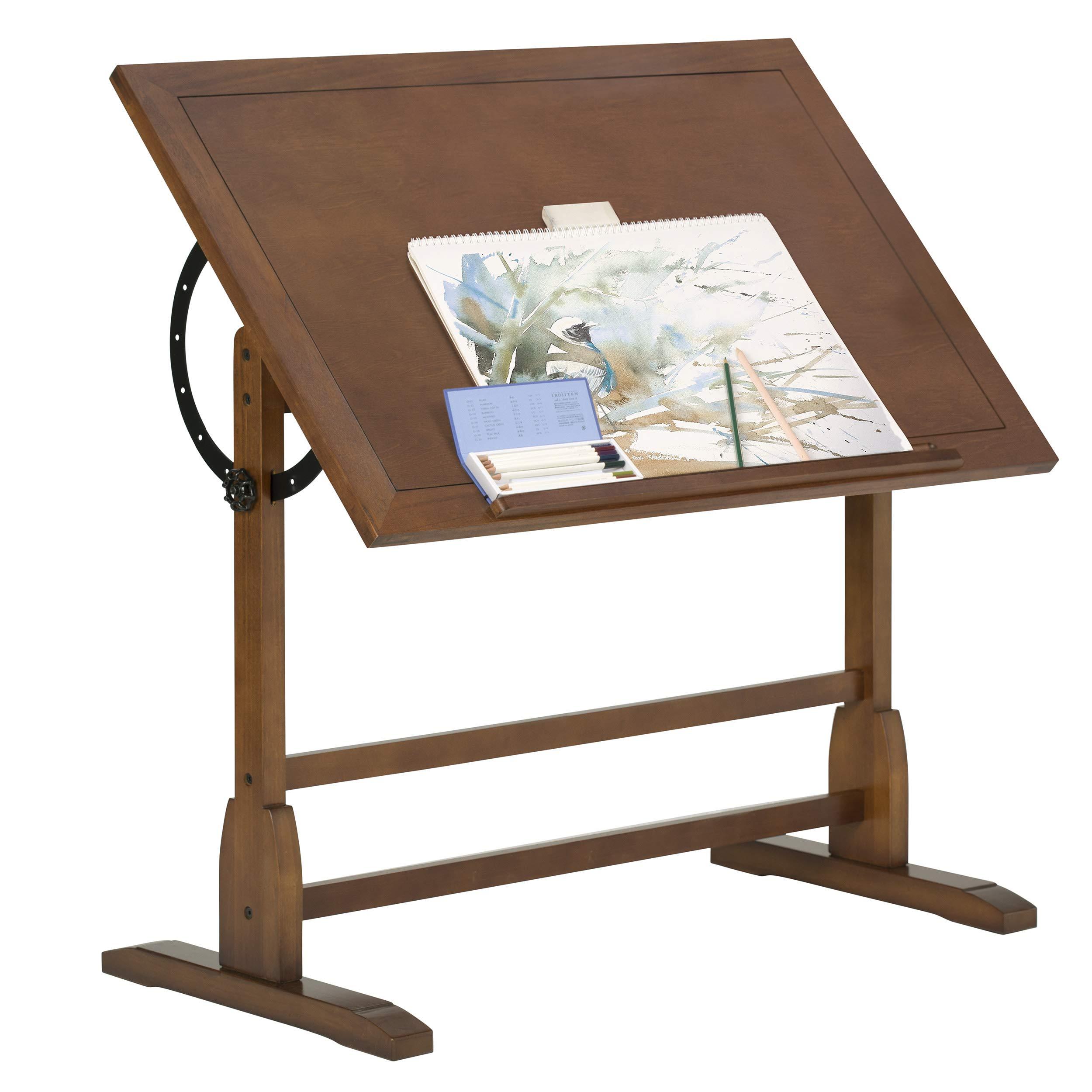 Vintage Rustic Oak Drafting Table, Top Adjustable Drafting Table Craft Table Drawing Desk Hobby Table Writing Desk Studio Desk, 42''W x 30''D