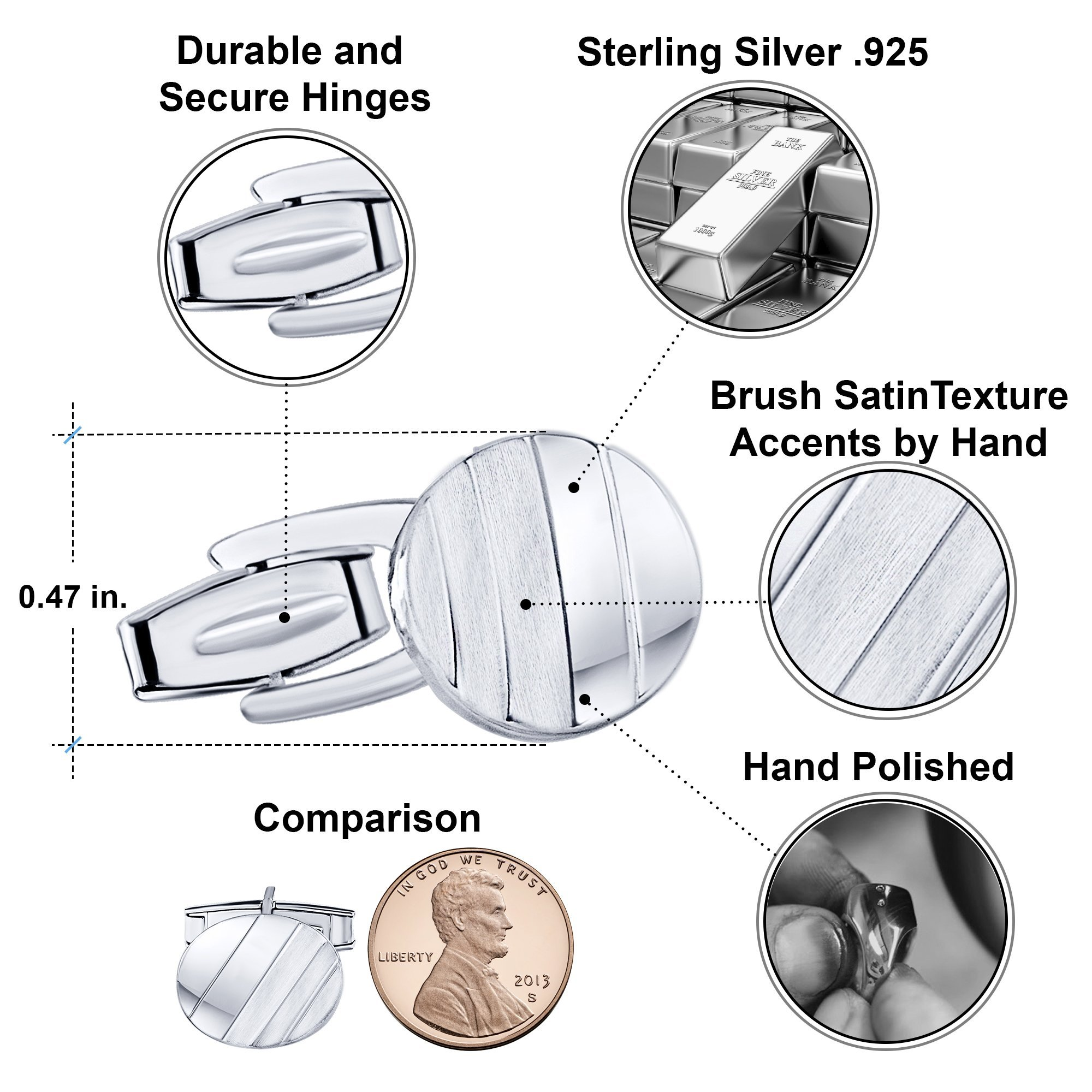 Men's Sterling Silver .925 Oval Striped Design Cufflinks with Satin Finish. Made In Italy. By Sterling Manufacturers by Sterling Manufacturers (Image #4)