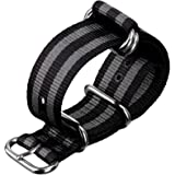 ZULUDIVER® Nylon Watch Strap ZULU Classic Bond Black / Grey Stripes 20, 22, 24mm
