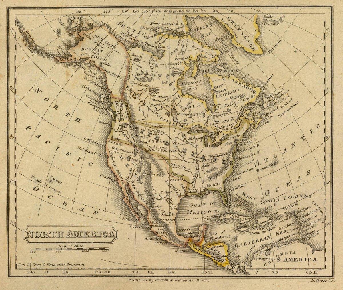 1832 School Atlas   North America. H. Morse Sc. Published by Lincoln & Edmands, Boston. (1832)   Antique Vintage Map Reprint