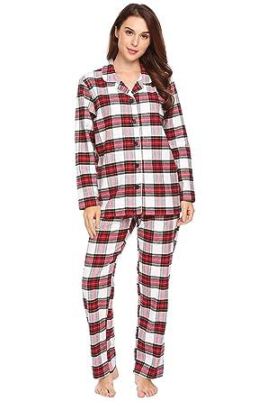 Ekouaer Womens Cotton Pyjamas Tartan Xmas Sleepwear Lapel Lounge Wear Long  Sleeves Nightwear  Amazon.co.uk  Clothing 08b53ae6d