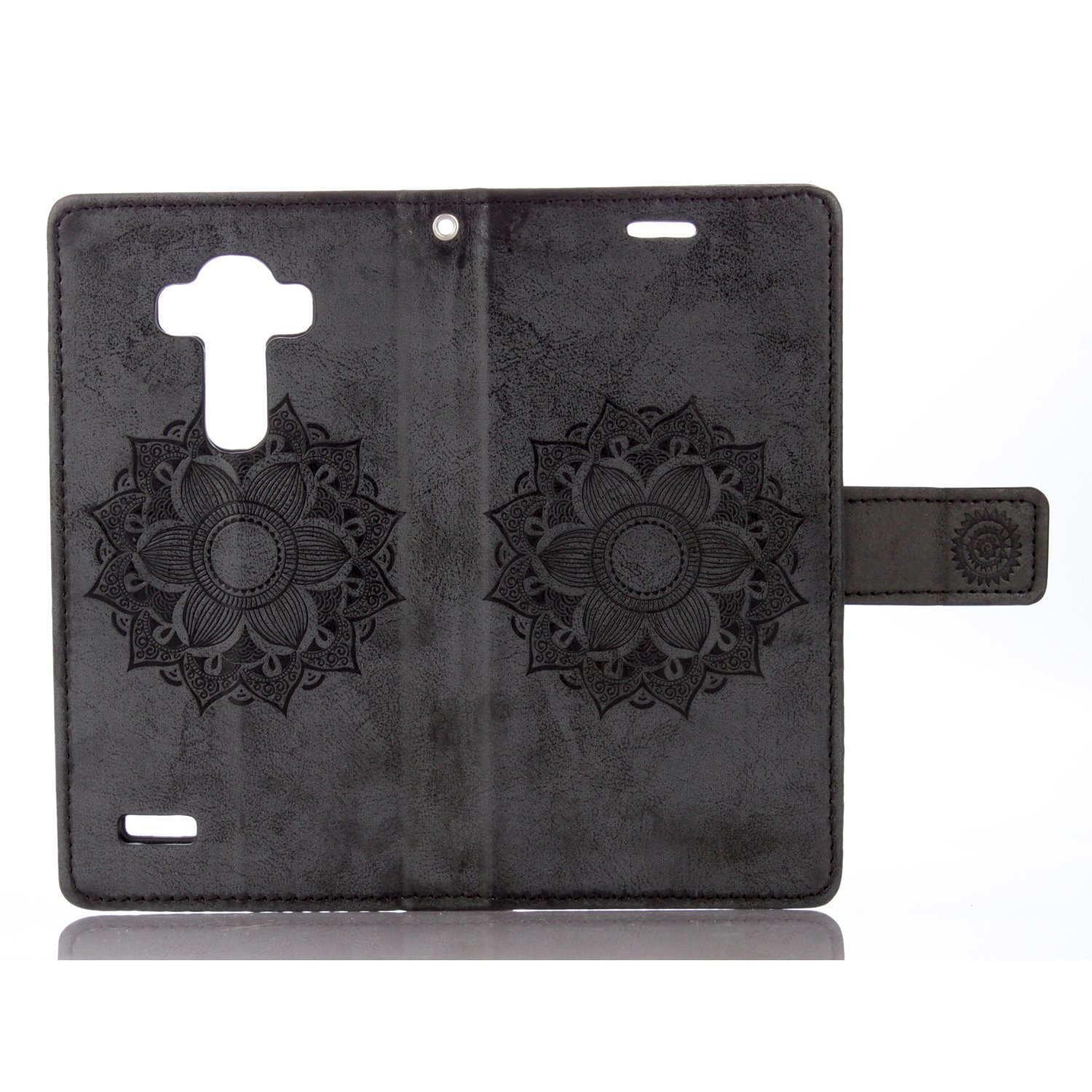 BtDuck Leather Solid Color Case LG G4 Suitable for Science And Engineering  Male Introverted Humor Good Match Black Mandala Flower PU Embossed