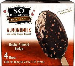 So Delicious Dairy Free Almondmilk Dipped Frozen Dessert Bar, Mocha Almond Fudge, Vegan, Non-GMO Project Verified, 4 Pack