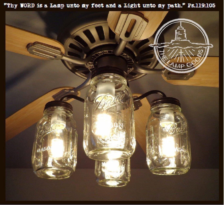 LAMP GOODS Mason Jar CEILING FAN Light Kit New Quart Jars